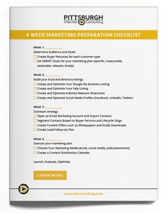 4-Week Marketing Plan Checklist for Small Business Digital Marketing Strategy, Inbound Marketing, Marketing Plan, Pittsburgh, Planning And Organizing, Internet, Campaign, Advice, Teaching