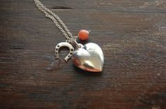 Horse shoe, puffed heart and coral necklace Handmade Sterling Silver, Sterling Silver Jewelry, Pendant Design, Jewelry Companies, Coral, Pendants, Shoe, Necklaces, Pendant Necklace
