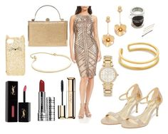 """Glittering Gold"" by hillarymaguire ❤ liked on Polyvore featuring Theia, MICHAEL Michael Kors, Kate Spade, Maya Magal, Michael Kors, Kitsch, Madewell, Yves Saint Laurent, Clinique and Guerlain"