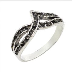 Marcasite 925 Sterling Silver Overlay Size 9 Ring Fantastic Jewelry UK 2618 #PinkCityGems #Ring