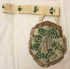 Belt / bag, the Textile Museum depot TwentseWelle, owned by Oudheidkamer Twente. Decorated with beetle wings. Historical Women, Historical Clothing, Textile Museum, Civil War Dress, Victorian Costume, Victorian Fashion, Medieval Fashion, Haute Couture Fashion, Fashion History