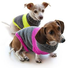 This adorable dog sweater is a fun fast knit done in one piece in the round. Simple increasing and decreasing makes it a flattering fit for your pooch. Pattern includes versions for average dogs and dachshunds.