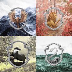 Ravenclaw, Hufflepuff, Gryffindor, and Slytherin