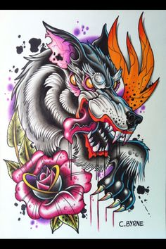 Neotraditional#wolf#tattoo