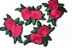 Iron On Embroidered Pink Fuchsia Roses Patches Appliques, Iron On Flowers Patches Iron On flower has a glue on the back side. The applique can be transferred by Iron or Heat Machine to any type of fabric . QTY : 3 pcs Size: 8.5 cm = 3.3 in  How to Apply: 1. Place adhesive side down in desired position on top of your project. 2. Press and hold the iron for 5-10 seconds on each section until the entire applique is bonded. Pressing time can vary depending on your iron and the thickness of t...