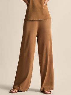 Massimo Dutti - Women - Wide fit trousers - Tobacco brown - S Cotton Shirt Dress, Trousers Women, Street Wear, Jumpsuit, Spring Summer, Fitness, Shirts, Collection, Dresses