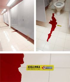This was to promote the movie Kill Bill. Not exactly what I would have wanted to see on my trip to the washroom.