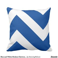 """Blue and White Modern Chevron Geometric Throw Pillow - Add a pop of color to your decor with a bold chevron pattern in deep blue and white. The geometric angular lines add modern day appeal to any room. Want to try another color? Choose the """"customize it"""" button and change the background color to any other color. Sold at DancingPelican on Zazzle."""