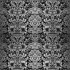 A pattern using a black marble background with a brushed silver floral damask.