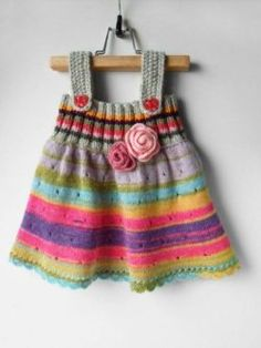 Knitting For Kids Dress Ideas Baby Cardigan, Knit Baby Dress, Baby Pullover, Baby Vest, Knitting For Kids, Baby Knitting Patterns, Little Dresses, Little Girl Dresses, Baby Dress Pattern Free