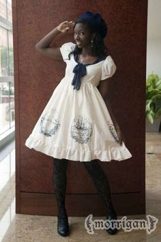 Moby Dick nautical series lolita-style dress (short/ivory) by Morrigan NYC. Harajuku Mode, Harajuku Fashion, Kawaii Fashion, Lolita Fashion, Cute Fashion, Fashion Clothes, Afro Punk, Girly, Mode Mori