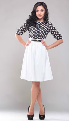 Polka dot dress. Contrast dress. White dress for women. Chiffon dress. Cocktail dress. Party dress.