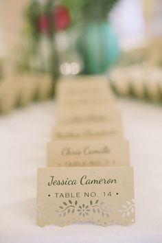 rustic laser cart place cards for wedding