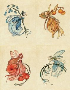 Inspired by Shakespeare's A Midsummer Night's Dream, this series of fairy drawings has a spectacular Art Nouveau look. Midsummer Night's Dream Fairies, Midsummer Nights Dream, Fairy Drawings, Cute Drawings, Pretty Art, Cute Art, Dream Drawing, Art Nouveau Illustration, Fairytale Art