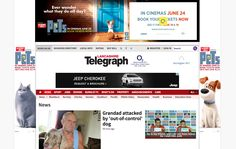 Lancashire Telegraph. Large ads at the top of the page, many ads scattered throughout the site. Quite intrusive.