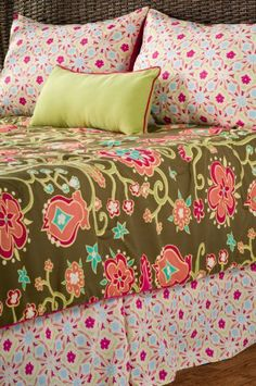 """3pc Twin Size Bedding Set with Floral in Pink and Green Finish by Rizzy Home. $100.00. Bedding->Bed in a Bag Sets->Twin. Some assembly may be required. Please see product details.. Bedding. Twin. You will receive a total of 3pc items, includes 1 Comforter, 1 standard shams and 1 decorative pillows. Dimension: Twin Size Comforter Size: 68""""W x 86""""L Standard Sham: 20""""W x 26""""L Decorative Pillow: 11""""W x 21""""L Finish: Pink and Green Material: 100% Micro Fiber Polyester with Beach ..."""