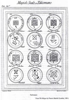 "Ceremonial Magick: #Magick #Seals or Talismans, from ""The Magus,"" by Francis Barrett, 1801."