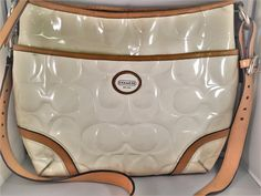 AUTHENTIC COACH Signature Peyton Embossed Patent Leather Pocket Tote Handbag 20028 - White & Tan. Starting at $1