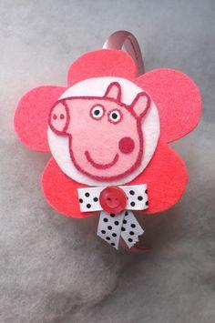 Peppa Pig Headband made in felt, new born, baby, girls, pink via Etsy
