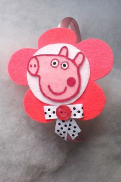 Peppa Pig Headband made in felt, new born, baby, girls, pink via Etsy