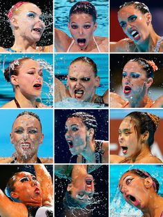 SYNCHRONIZED FACES Participants in thesynchronized swimming competitions at the FINA Swimming World Championships in Barcelona, Spain. (AP Photos)