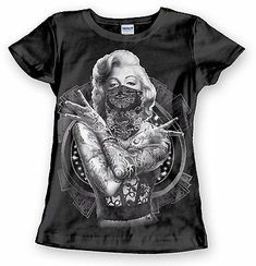 Masked Marilyn Monroe T-Shirt w//Guns Gangster,California Long Sleeves L