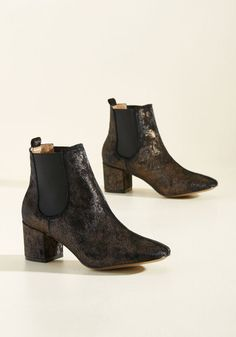 Haute and About Bootie in Black Velvet - Bronze, Solid, Party, Luxe, Fall, Better, Chunky heel, Ankle, Variation, Black, Metallic, Velvet, Steampunk