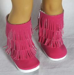 """New Tassel Boots Hot Pink Shoes for 18"""" American Girl Doll X-mas gift"""