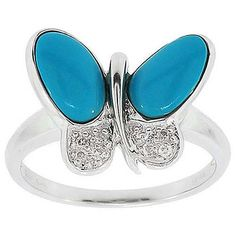 4.30 Cttw F VS Round Diamond and Turquoise Ring in 14K White Gold by GetDiamondsDirect on Etsy