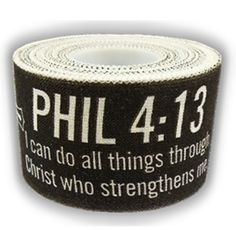 Black Athletic Tape Scripture Phil 4:13/II Tim 1:7 Shields of Strength