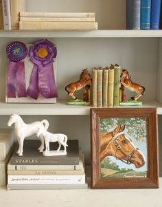 Vintage horse room decor article from Country Living Magazine.  This reminds me of my childhood room with horse art, books and statues on the shelves.