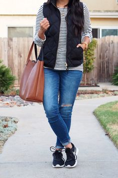 Casual Fall Outfit details: black vest + striped tee + distressed jeans + black sneakers # Casual Outfits tenis striped shirts Some of My Favorite Fall Staples + 3 Go-To Fall Outfits + Extra Off Code Outfit Jeans, Black Vest Outfit, Black Sneakers Outfit, Jeans Outfit Winter, Sneakers Style, Jeans With Sneakers, Jean Vest Outfits, Vest Outfits For Women, Cuffed Jeans