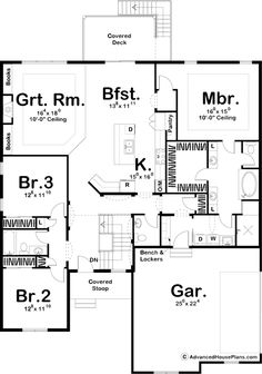 Modern Prairie Ranch with Open Concept Floor Plan - floor plan - Main Level Ranch House Plans, Craftsman House Plans, New House Plans, Small House Plans, House Floor Plans, Craftsman Style, Concept Ouvert, Br House, Cottage House