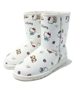 Hello Kitty x Nina mew Leather Mouton Warm Boots Shoes Limited Japan Best Buy FS