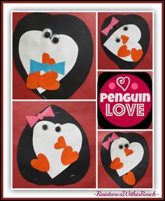 Fine Motor Leads to Fine Arts: Penguin RoundUP RainbowsWithinReach w/ Penguin Love Book Valentine Day Crafts, Holiday Crafts, Valentines, Valentine Activities, Autumn Crafts, Valentine Ideas, Holiday Fun, Penguin Craft, Penguin Love