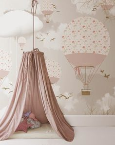 The prettiest hot air balloon paper for a little girl's room. Muted pinks, soft blush greys. Just heavenly. We love Little Hands.