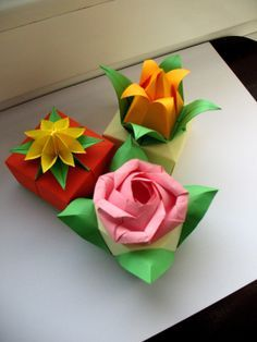 Origami Flower Boxes