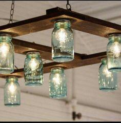 Super Farmhouse Kitchen Diy Jar Lights Ideas Source by Hanging Mason Jar Lights, Mason Jar Light Fixture, Mason Jar Lighting, Ball Jar Lights, Diy Light Fixtures, Diy Hanging, Light Fittings, Diy Luminaire, Diy Lampe