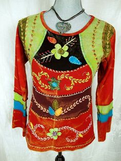 Rising International Art to Wear Fair Trade Top S Boho NEPAL Hippie Arty Shirt #RisingInternational #KnitTop #Casual#Casualarttowear#fashion#tiedyed#handdyed#arty#style#boho#trend#nepal#funky#summer#sale#resale#socute#adorable#casual#everyday#boutique#fairtrade#hippie#nepal#resale#deal