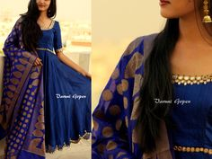 Bautiful blue anarkali with mirror work from VARUNI GOPEN. To buy this outfit  Drop an email to varunigopen@gmail.com whatsapp 9849125889 Churidar Designs, Lehenga Designs, Saree Blouse Designs, Indian Designer Outfits, Indian Outfits, Designer Dresses, Anarkali Dress, Anarkali Suits, Punjabi Suits