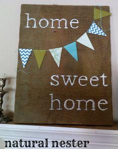 home sweet home burlap canvas