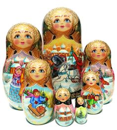 GreatRussianGifts.com - Russian Troyka 7 Piece Nesting Doll, $179.95 http://www.greatrussiangifts.com/7-piece-nesting-dolls/