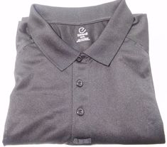 Men's Edwards 3 Button Up Golf Black Shirt 100% Polyester Wicking Fabric 3XL NEW #Edwards #ShirtsTops