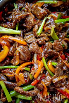 Mongolian Beef is a combination of juicy beef steak, seared peppers, onions, and green scallions all brought together with a sweet & savory Mongolian beef sauce. Meat Recipes, Asian Recipes, Cooking Recipes, Healthy Recipes, Ethnic Recipes, Chinese Recipes, Recipies, Beef Chunks Recipes, Thin Steak Recipes