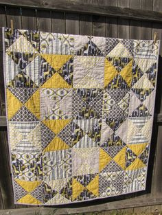 Yellow & Gray Quilt with Minky Backing