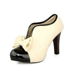 Amazon.com: Lath.pin® Classic Vintage Womens Stiletto Platform Pumps High Heels Ankle Boots Cream Party Bridal Wedding Shoes with Bow: Clothing