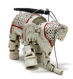 Hand painted, hand carved wooden elephant marionette made India