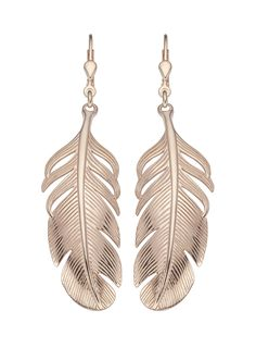 ladies feather earrings rosegold