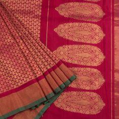 Ghanshyam Sarode Carmine Red Handwoven Kanchipuram Silk Saree with Paisley Motif & Tissue Border 10002478 - AVISHYA