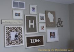 "Gallery Wall- state, ampersand, photos of kids (one with a patterned ""mat"")...really like"